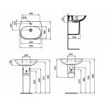 Умывальник с полупьедесталом Ideal Standard Tesi 55 см с тонким бортом T352301