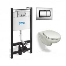 Инсталляция Roca в комплекте с унитазом Victoria c сиденьем микролифт и кнопкой ПЭК 893100000