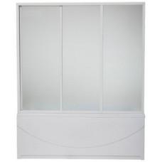 Шторка для ванны BAS Бриз, Верона, Ибица 150 см 3 створки стекло Шиншила, в комплекте с направляющими
