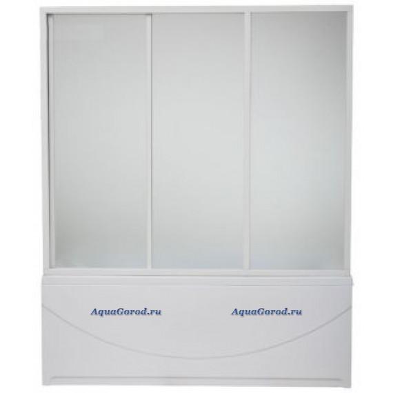 Шторка для ванны Бриз, Верона, Ибица 1.5 м. 3 створки, стекло Шиншила, в комплекте с направляющими,BAS